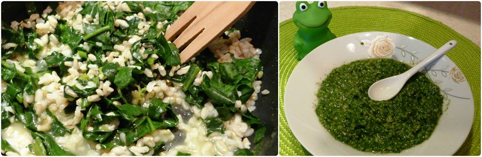 Кафяв ориз със спанак